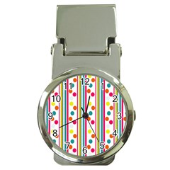 Stripes And Polka Dots Colorful Pattern Wallpaper Background Money Clip Watches