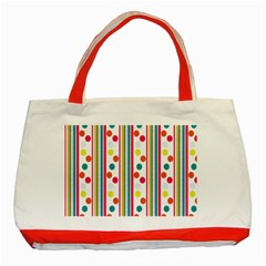 Stripes And Polka Dots Colorful Pattern Wallpaper Background Classic Tote Bag (red)