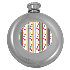 Stripes And Polka Dots Colorful Pattern Wallpaper Background Round Hip Flask (5 Oz)