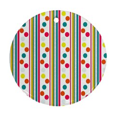Stripes And Polka Dots Colorful Pattern Wallpaper Background Round Ornament (Two Sides)