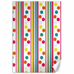 Stripes And Polka Dots Colorful Pattern Wallpaper Background Canvas 12  X 18