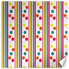 Stripes And Polka Dots Colorful Pattern Wallpaper Background Canvas 16  x 16