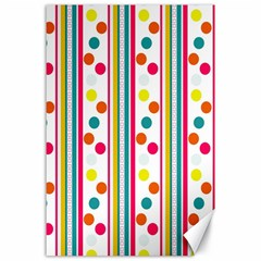 Stripes And Polka Dots Colorful Pattern Wallpaper Background Canvas 24  X 36