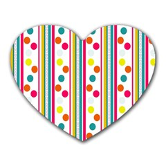 Stripes And Polka Dots Colorful Pattern Wallpaper Background Heart Mousepads