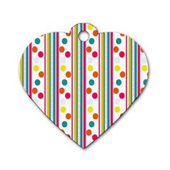 Stripes And Polka Dots Colorful Pattern Wallpaper Background Dog Tag Heart (one Side)
