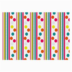 Stripes And Polka Dots Colorful Pattern Wallpaper Background Large Glasses Cloth (2-Side)
