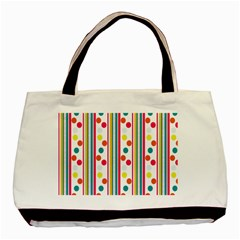 Stripes And Polka Dots Colorful Pattern Wallpaper Background Basic Tote Bag (Two Sides)