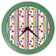 Stripes And Polka Dots Colorful Pattern Wallpaper Background Color Wall Clocks