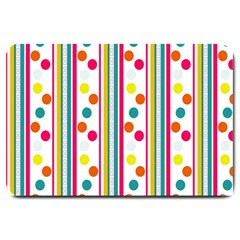 Stripes And Polka Dots Colorful Pattern Wallpaper Background Large Doormat