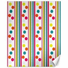 Stripes And Polka Dots Colorful Pattern Wallpaper Background Canvas 11  x 14
