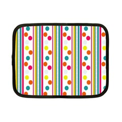 Stripes And Polka Dots Colorful Pattern Wallpaper Background Netbook Case (Small)