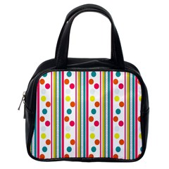 Stripes And Polka Dots Colorful Pattern Wallpaper Background Classic Handbags (one Side)