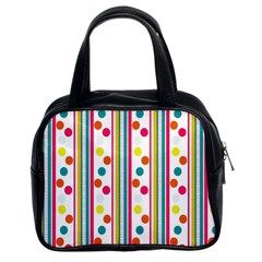 Stripes And Polka Dots Colorful Pattern Wallpaper Background Classic Handbags (2 Sides)