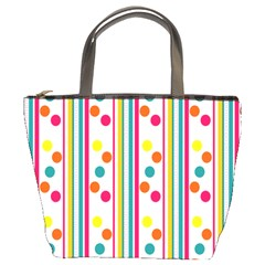 Stripes And Polka Dots Colorful Pattern Wallpaper Background Bucket Bags