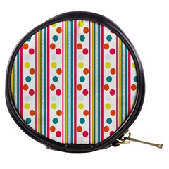 Stripes And Polka Dots Colorful Pattern Wallpaper Background Mini Makeup Bags