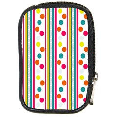 Stripes And Polka Dots Colorful Pattern Wallpaper Background Compact Camera Cases