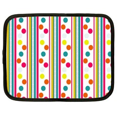 Stripes And Polka Dots Colorful Pattern Wallpaper Background Netbook Case (xl)