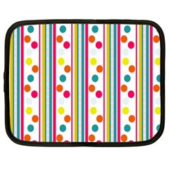 Stripes And Polka Dots Colorful Pattern Wallpaper Background Netbook Case (XXL)