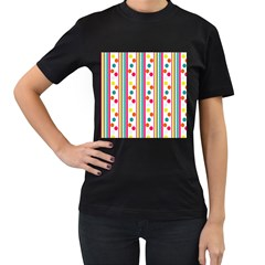 Stripes And Polka Dots Colorful Pattern Wallpaper Background Women s T-Shirt (Black)