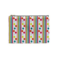 Stripes And Polka Dots Colorful Pattern Wallpaper Background Cosmetic Bag (medium)