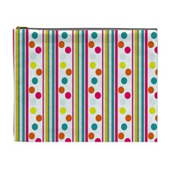 Stripes And Polka Dots Colorful Pattern Wallpaper Background Cosmetic Bag (XL)