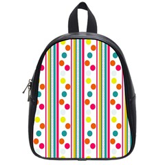 Stripes And Polka Dots Colorful Pattern Wallpaper Background School Bags (small)