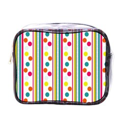 Stripes And Polka Dots Colorful Pattern Wallpaper Background Mini Toiletries Bags