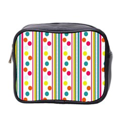 Stripes And Polka Dots Colorful Pattern Wallpaper Background Mini Toiletries Bag 2-Side