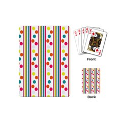 Stripes And Polka Dots Colorful Pattern Wallpaper Background Playing Cards (mini)