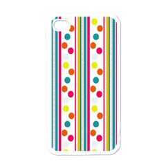Stripes And Polka Dots Colorful Pattern Wallpaper Background Apple iPhone 4 Case (White)