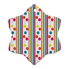 Stripes And Polka Dots Colorful Pattern Wallpaper Background Ornament (Snowflake)