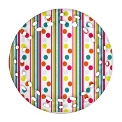 Stripes And Polka Dots Colorful Pattern Wallpaper Background Round Filigree Ornament (Two Sides)