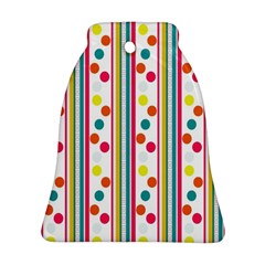 Stripes And Polka Dots Colorful Pattern Wallpaper Background Bell Ornament (two Sides)