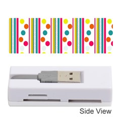 Stripes And Polka Dots Colorful Pattern Wallpaper Background Memory Card Reader (stick)