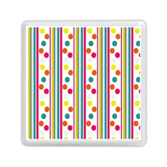 Stripes And Polka Dots Colorful Pattern Wallpaper Background Memory Card Reader (Square)