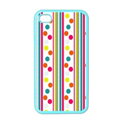 Stripes And Polka Dots Colorful Pattern Wallpaper Background Apple iPhone 4 Case (Color)