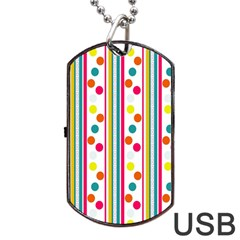Stripes And Polka Dots Colorful Pattern Wallpaper Background Dog Tag USB Flash (One Side)