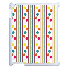 Stripes And Polka Dots Colorful Pattern Wallpaper Background Apple Ipad 2 Case (white)