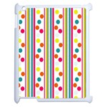 Stripes And Polka Dots Colorful Pattern Wallpaper Background Apple iPad 2 Case (White) Front