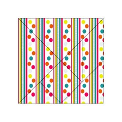 Stripes And Polka Dots Colorful Pattern Wallpaper Background Acrylic Tangram Puzzle (4  x 4 )