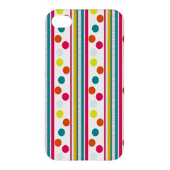 Stripes And Polka Dots Colorful Pattern Wallpaper Background Apple iPhone 4/4S Premium Hardshell Case