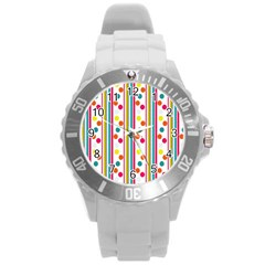 Stripes And Polka Dots Colorful Pattern Wallpaper Background Round Plastic Sport Watch (l)