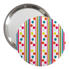 Stripes And Polka Dots Colorful Pattern Wallpaper Background 3  Handbag Mirrors