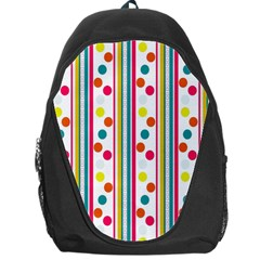 Stripes And Polka Dots Colorful Pattern Wallpaper Background Backpack Bag