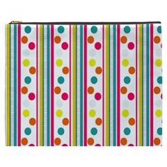 Stripes And Polka Dots Colorful Pattern Wallpaper Background Cosmetic Bag (xxxl)