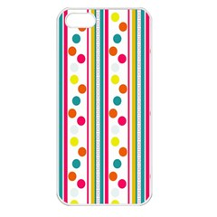 Stripes And Polka Dots Colorful Pattern Wallpaper Background Apple iPhone 5 Seamless Case (White)