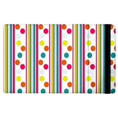 Stripes And Polka Dots Colorful Pattern Wallpaper Background Apple iPad 3/4 Flip Case