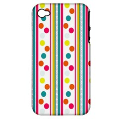 Stripes And Polka Dots Colorful Pattern Wallpaper Background Apple Iphone 4/4s Hardshell Case (pc+silicone)