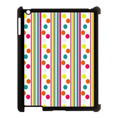 Stripes And Polka Dots Colorful Pattern Wallpaper Background Apple Ipad 3/4 Case (black)