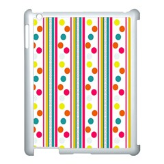 Stripes And Polka Dots Colorful Pattern Wallpaper Background Apple iPad 3/4 Case (White)
